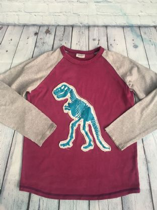 Mini Boden purple and grey raglan long sleeved top with applique dinosaur age 11-12